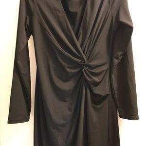 MAX STUDIO long-sleeve black twist-front dress (L)
